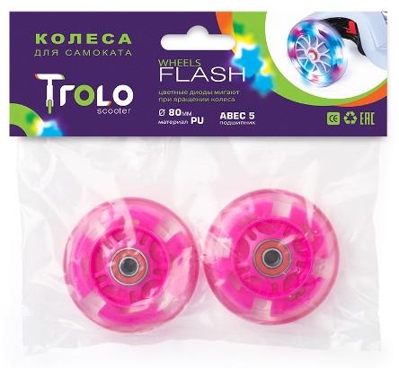 Транспорт для детей Аксессуары: Колеса светящиеся для самоката Trolo Maxi 80 мм (Розовый)