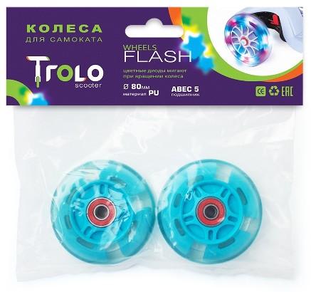 Транспорт для детей Аксессуары: Колеса светящиеся для самоката Trolo Maxi 80 мм (Голубой)